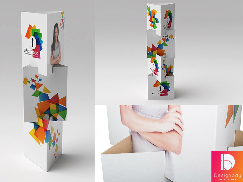 Totem carton 3 faces modulaire