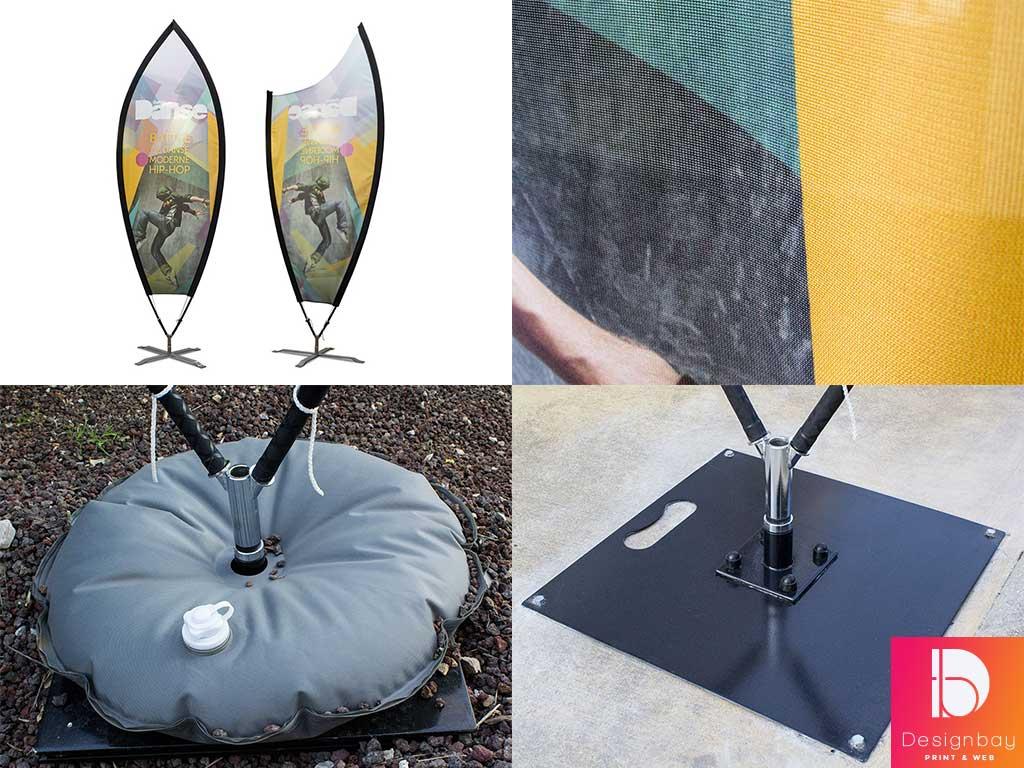 Voile structure fibre de verre, pieds croisillon, platine ou bouée