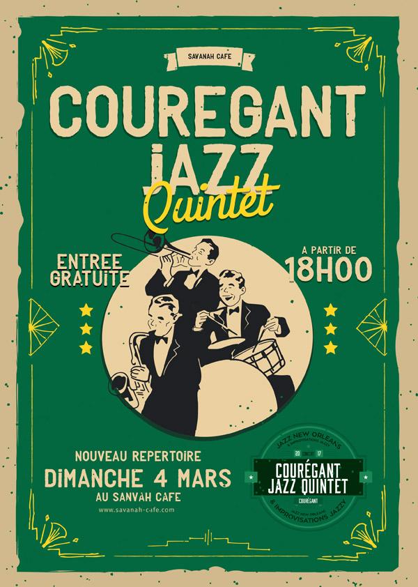 Affiche de concert - Courégant Jazz Quintet