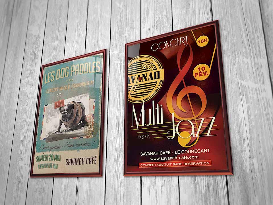 Affiches de Concert au Savanah Café