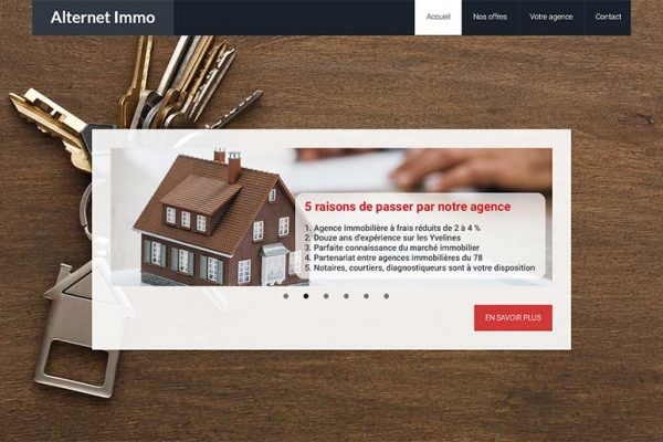 Alternet immo – Page d'accueil