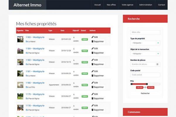 Alternet Immo – Listing des propriétés