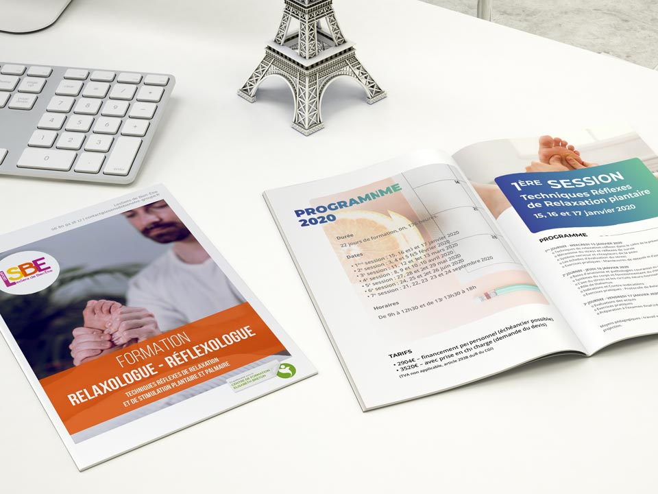 Réalisation de brochures (formations Réflexologie)