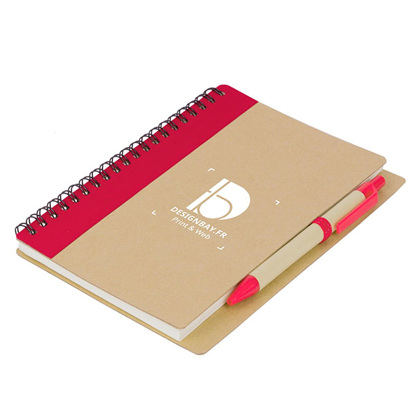 bu110 Bloc-notes avec stylo rouge