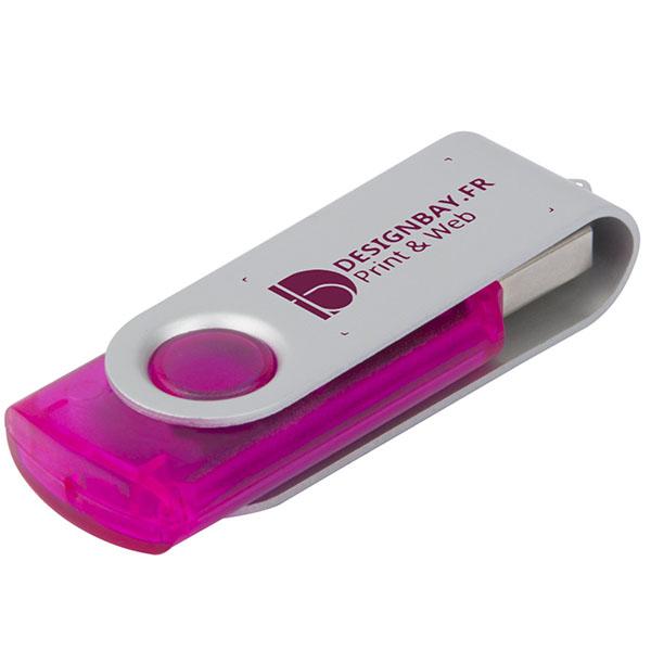 ht80 Clé USB rotative translucide de 4 Go rose