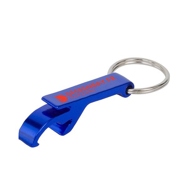ma135 Porte-clés ouvre-boîte ouvre-bouteille bleu