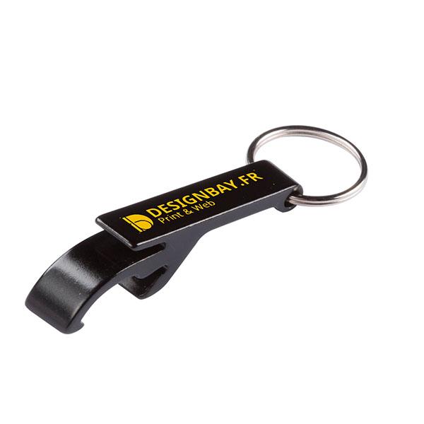 ma135 Porte-clés ouvre-boîte ouvre-bouteille noir