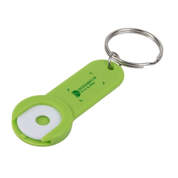 ma138 Porte-clés avec jeton Shoppy vert
