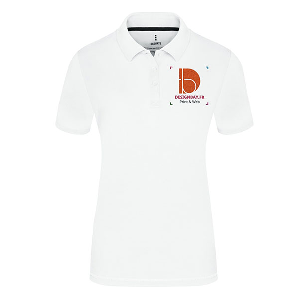Polo personnalisé femme à manches courtes Unicolore Calgary Blanc