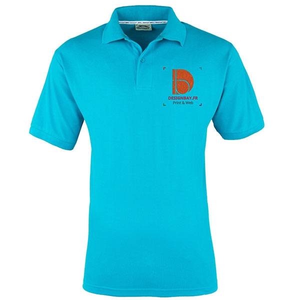 po13 Polo à manches courtes pour homme Forehand Cyan