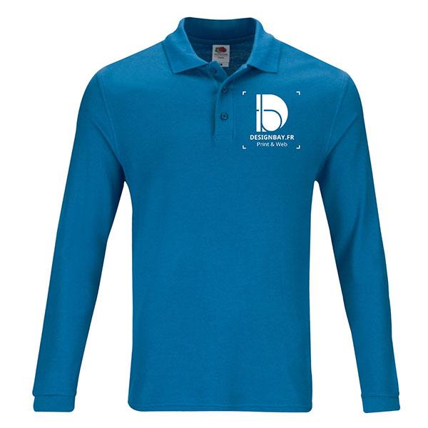 po19 Polo à manches longues Unicolore Premium Bleu clair