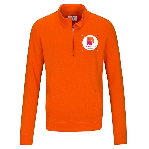 sw30 Pull unisexe à col zippé GOTS orange