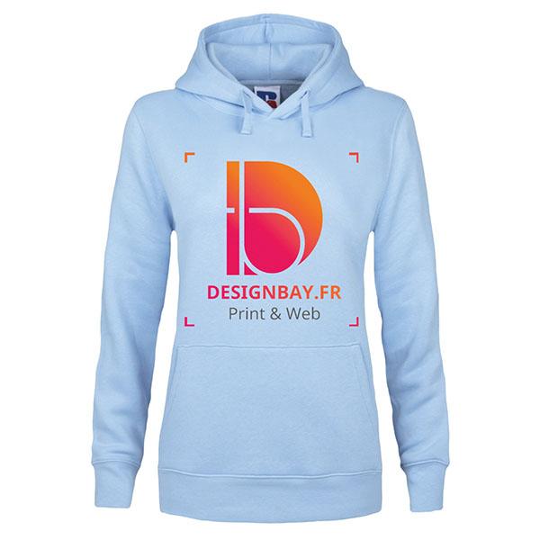 sw32 Sweat-shirt à capuche femme Authentic bleu ciel