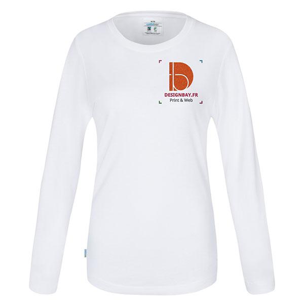 T-shirt à manches longues femme GOTS blanc