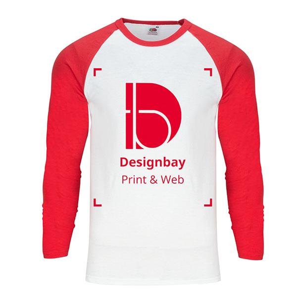 T-shirt homme à manches longues Uni Baseball rouge