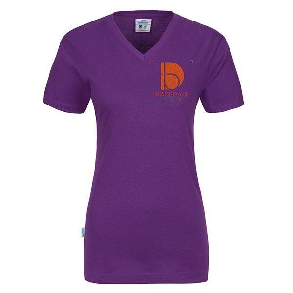 T-shirt femme Col en V GOTS mauve