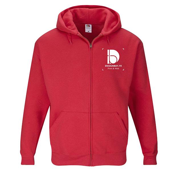 ve27 Veste de survêtement à capuche Unicolore Premium rouge